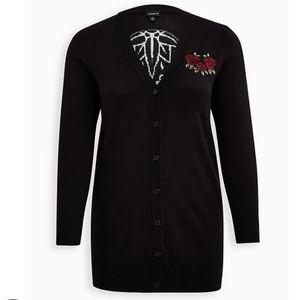 Torrid Cardigan Boyfriend Skull Embroidered Roses Black Lightweight